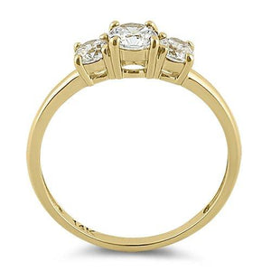 Solid 14K Yellow Gold Triple Round Cut CZ Engagement Ring
