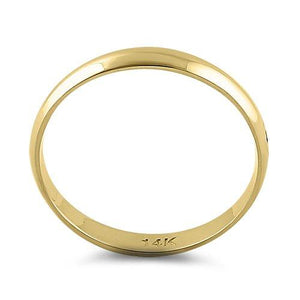 Solid 14K Yellow Gold 3mm Dome Wedding Band