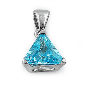 Sterling Silver Blue Topaz Triangle CZ Pendant
