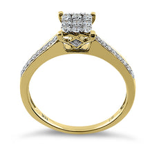 Load image into Gallery viewer, Solid 14K Yellow Gold Square 0.25 ct. Diamond Ring