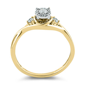 Solid 14K Yellow Gold Twisted Engagement  0.10 ct. Diamond Ring