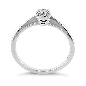 Solid 14K White Gold Classic Cluster  0.10 ct. Diamond Ring