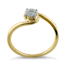 Load image into Gallery viewer, Solid 14K Yellow Gold Wave Flower 0.15 ct. Diamond Ring