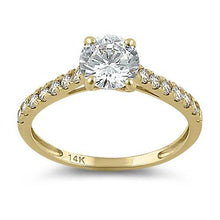 Load image into Gallery viewer, Solid 14K Yellow Gold Solitaire Round Clear CZ Engagement Ring