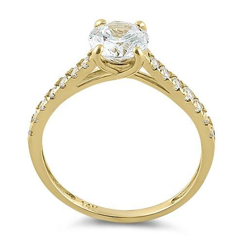 Solid 14K Yellow Gold Solitaire Round Clear CZ Engagement Ring