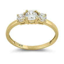 Load image into Gallery viewer, Solid 14K Yellow Gold Triple Round Cut CZ Engagement Ring