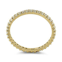 Load image into Gallery viewer, Solid 14K Yellow Gold Eternity CZ Ring