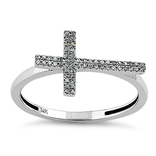 Solid 14K White Gold Cross 0.10 ct. Diamond Ring