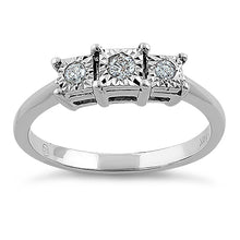 Load image into Gallery viewer, Solid 14K White Gold Triple Stone 0.15 ct. Diamond Ring