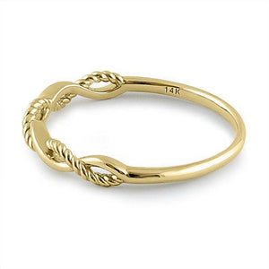 Solid 14K Yellow Gold Twisted Rope Ring