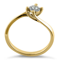 Load image into Gallery viewer, Solid 14K Yellow Gold Simple Curve 0.15 ct. Diamond Ring