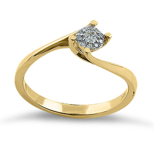 Solid 14K Yellow Gold Simple Curve 0.15 ct. Diamond Ring