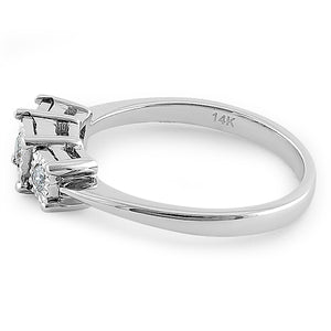 Solid 14K White Gold Triple Stone 0.15 ct. Diamond Ring