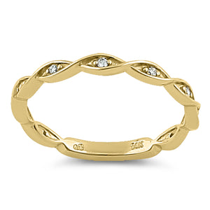 Solid 14K Yellow Gold Eternity Twist  0.10 ct. Diamond Ring