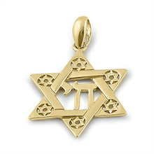Load image into Gallery viewer, Solid 14K Yellow Gold Star of David Pendant