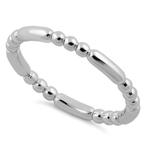 Rhodium Plated Stackable Bead and Bar Ring