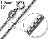 "Rhodium Sterling Silver 18"" Box Chain 1MM"