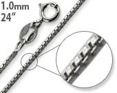 "Rhodium Sterling Silver 24"" Box Chain 1MM"