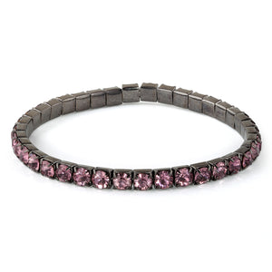 Soft Pink Glass Elastic Tennis Bracelet