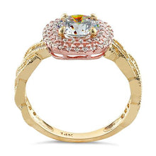 Load image into Gallery viewer, Solid 14K Two Tone Yellow & Rose Gold Engagement Round Clear CZ Ring