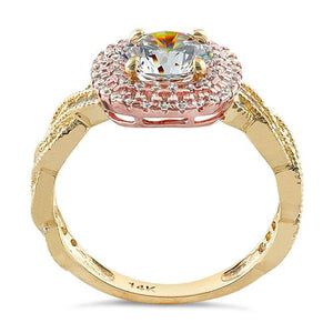 Solid 14K Two Tone Yellow & Rose Gold Engagement Round Clear CZ Ring