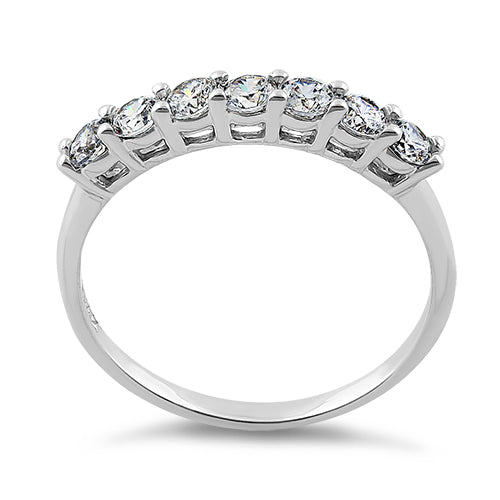 Solid 14K White Gold Brilliant Clear Round Cut CZ Ring