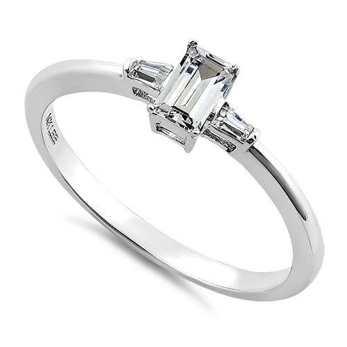 Solid 14K White Gold Clear Baguette Tapered & Emerald Cut CZ Ring