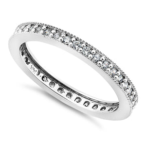 Solid 14K White Gold Clear Round Cut CZ Eternity Band Ring