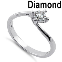 Load image into Gallery viewer, Solid 14K White Gold Simple Curve 0.15 ct. Diamond Ring