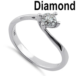 Solid 14K White Gold Simple Curve 0.15 ct. Diamond Ring