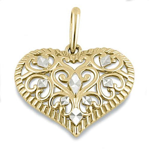 Solid 14K Yellow Gold Filigree Heart Pendant
