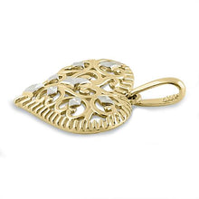 Load image into Gallery viewer, Solid 14K Yellow Gold Filigree Heart Pendant