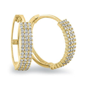 Solid 14K Yellow Gold 2mm x 16.5mm Triple Row Clear CZ Hoop Earrings