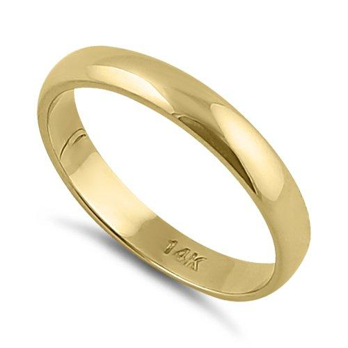 Solid 14K Yellow Gold 3mm Plain Wedding Band