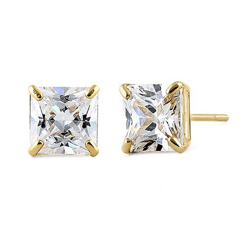 5f5a0a3a4 1.42 ct Solid 14K Yellow Gold 5mm Princess Cut Clear CZ Earrings
