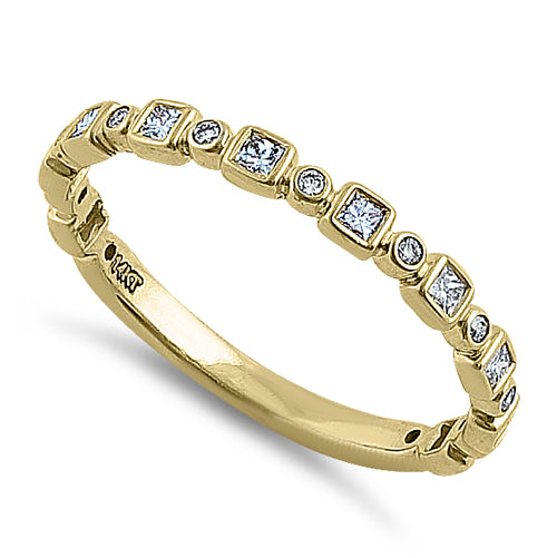 Solid 14K Yellow Gold Alternating 0.27 ct. Diamond Ring