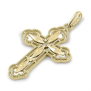 Solid 14K Yellow Gold Antique Diamond Cut Cross Pendant