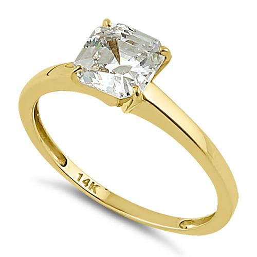 Solid 14K Yellow Gold Asscher 6.5mm Clear CZ Engagement Ring