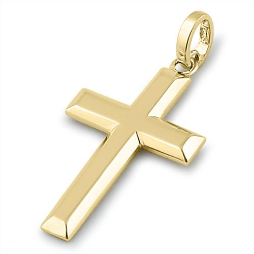 Solid 14K Yellow Gold Bold Cross Pendant