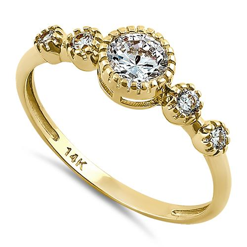Solid 14K Yellow Gold Clear Five Round CZ Engagement Ring