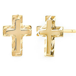 Solid 14K Yellow Gold Cross Earrings