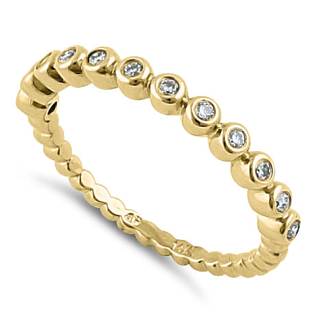 Solid 14K Yellow Gold  0.05 ct. Diamond Bead Ring