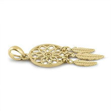 Load image into Gallery viewer, Solid 14K Yellow Gold Dreamcatcher Pendant