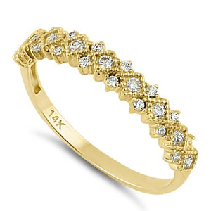Solid 14K Yellow Gold Elegant Half Eternity Wedding CZ Band
