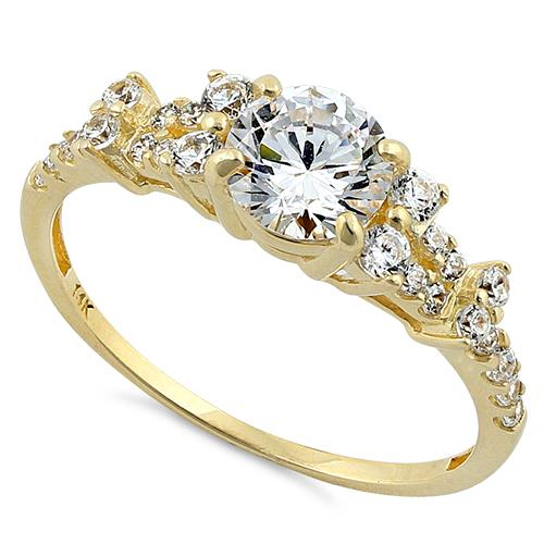 Solid 14K Yellow Gold Engagement Round Clear CZ Ring