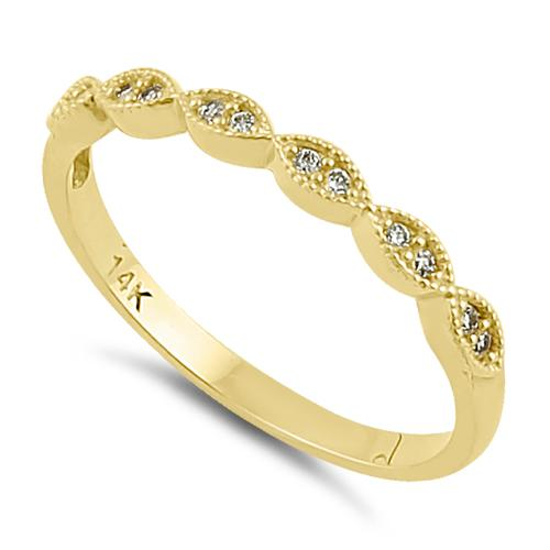 Solid 14K Yellow Gold Half Eternity Clear CZ Oval Ring