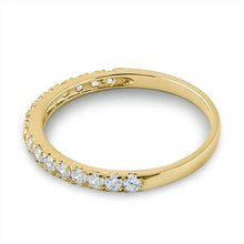 Load image into Gallery viewer, Solid 14K Yellow Gold Half Eternity Clear CZ Ring