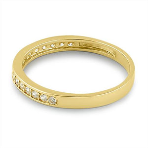 Solid 14K Yellow Gold Half Eternity Wedding Band
