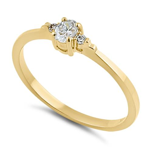 Solid 14K Yellow Gold Oval Clear CZ Ring