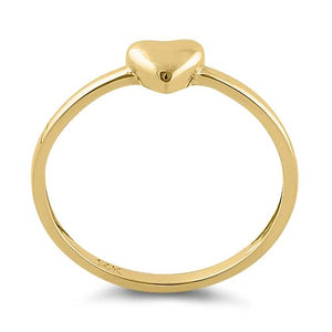 Solid 14K Yellow Gold Puffy Heart Ring